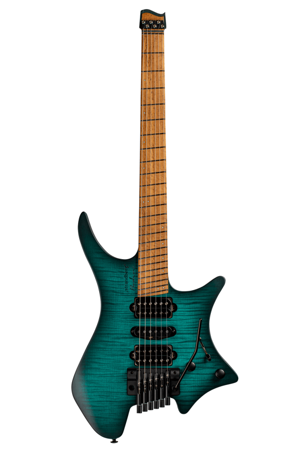 Headless Guitar Boden Metal 6 string trem trans teal front view