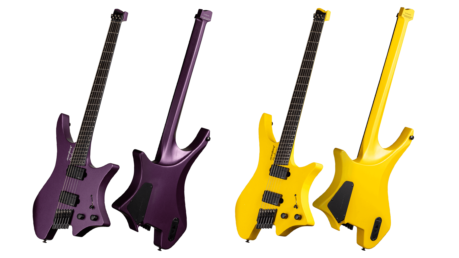 Headless Guitar Boden Metal purple and yellow front view