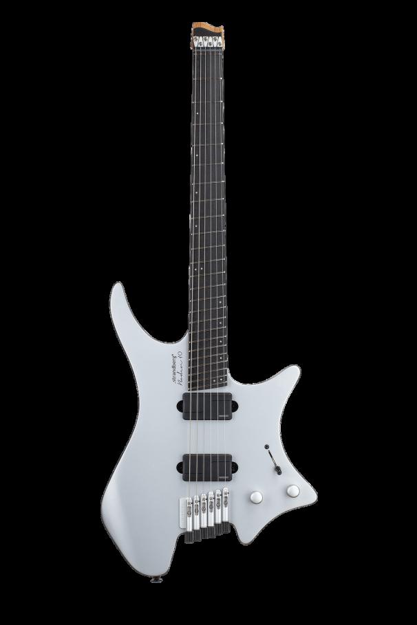 Headless Guitars Boden Prog 6 Ebony 10th anniversary model silver front view