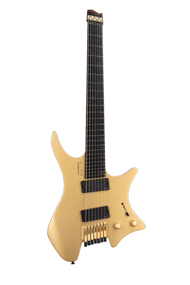 Boden Prog ebony 6 string headless guitar limited edition Gold front view