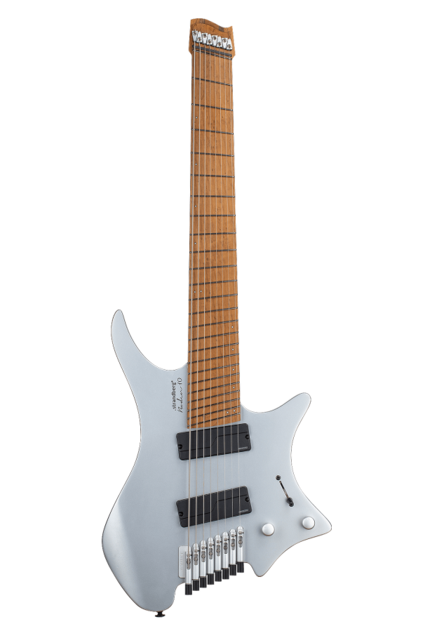 Multiscale Headless Guitars Boden Prog 8 Ebony 10th anniversary model silver front view