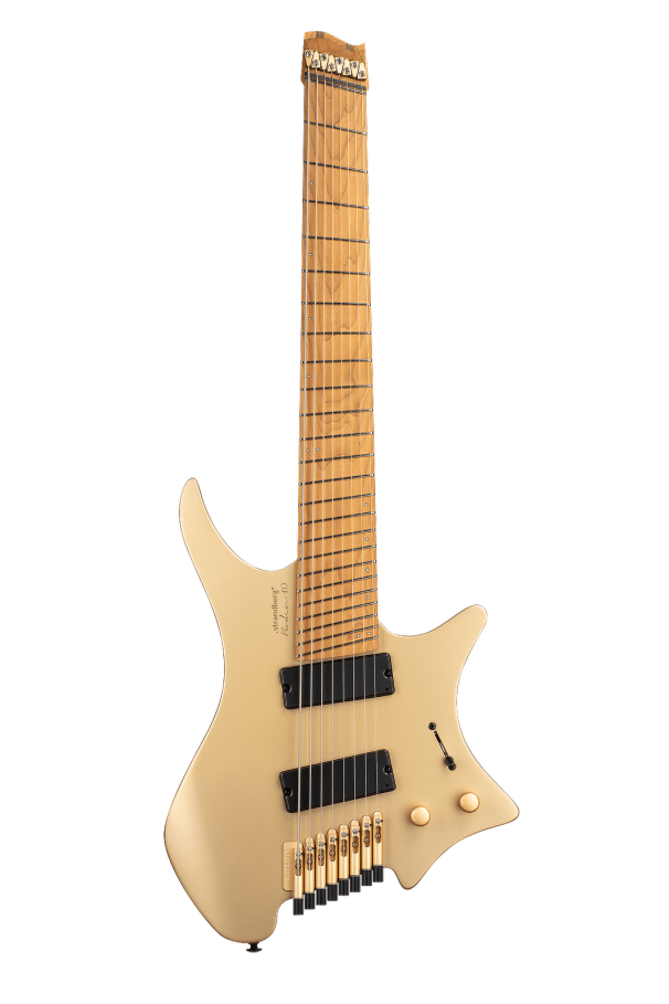 Boden Original 8 string multiscale limited edition Gold Headless guitar front view