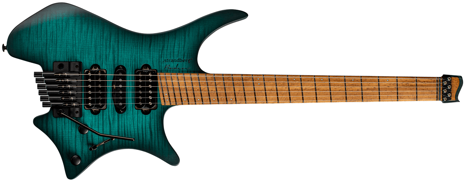 Fusion Neck through 6 string teal headless guitar front view