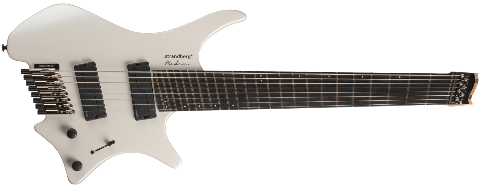Metal Pearl 8 multiscale headless guitar strandberg front view