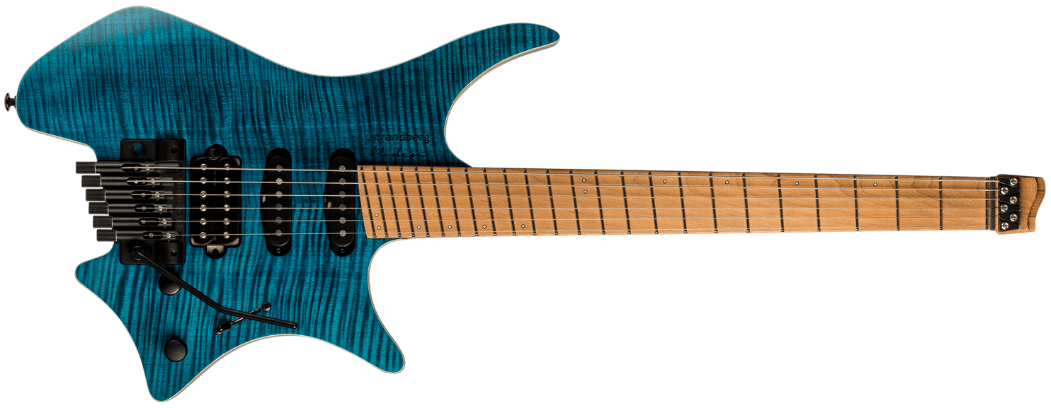 Standard 6 Trem blue headless guitar front view