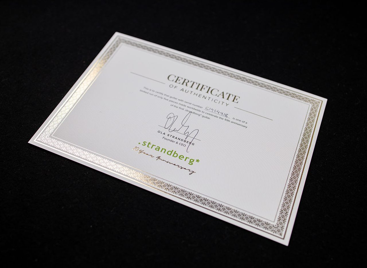 10 year anniversary certificate strandberg headless guitars