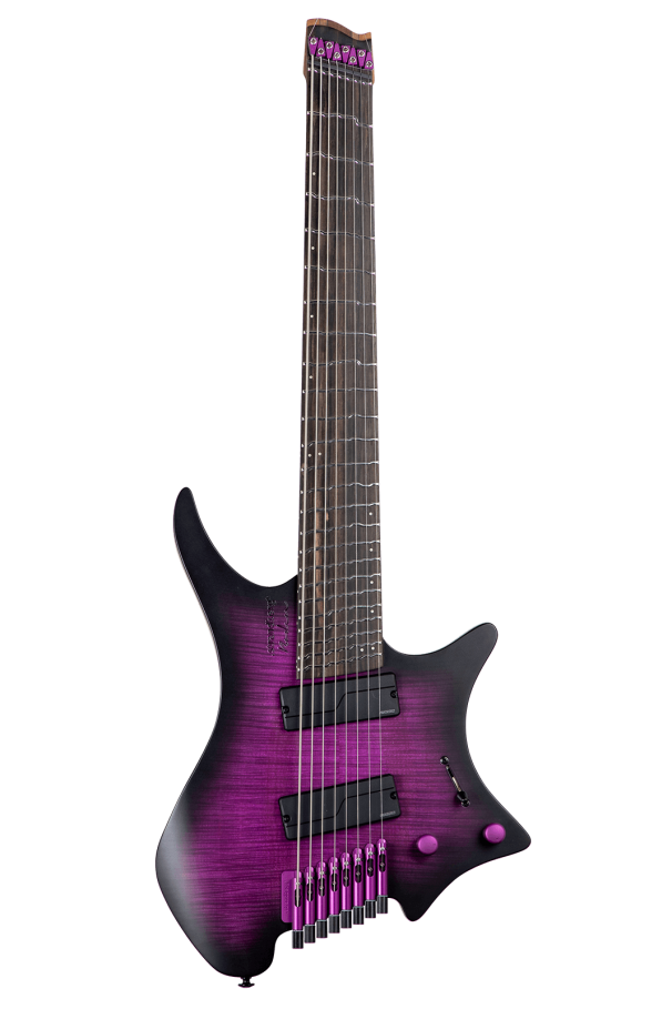 True Temperament purple headless guitar 8 string front view fretboard