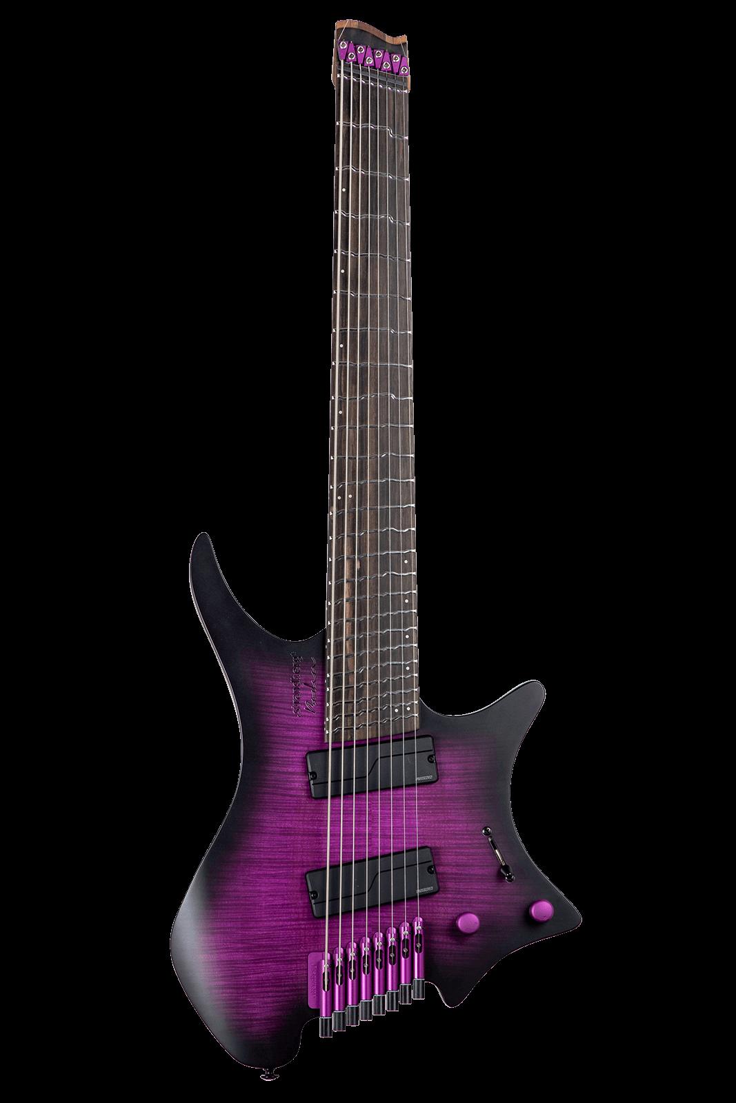 True Temperament purple headless guitar 8 string front view fretboard
