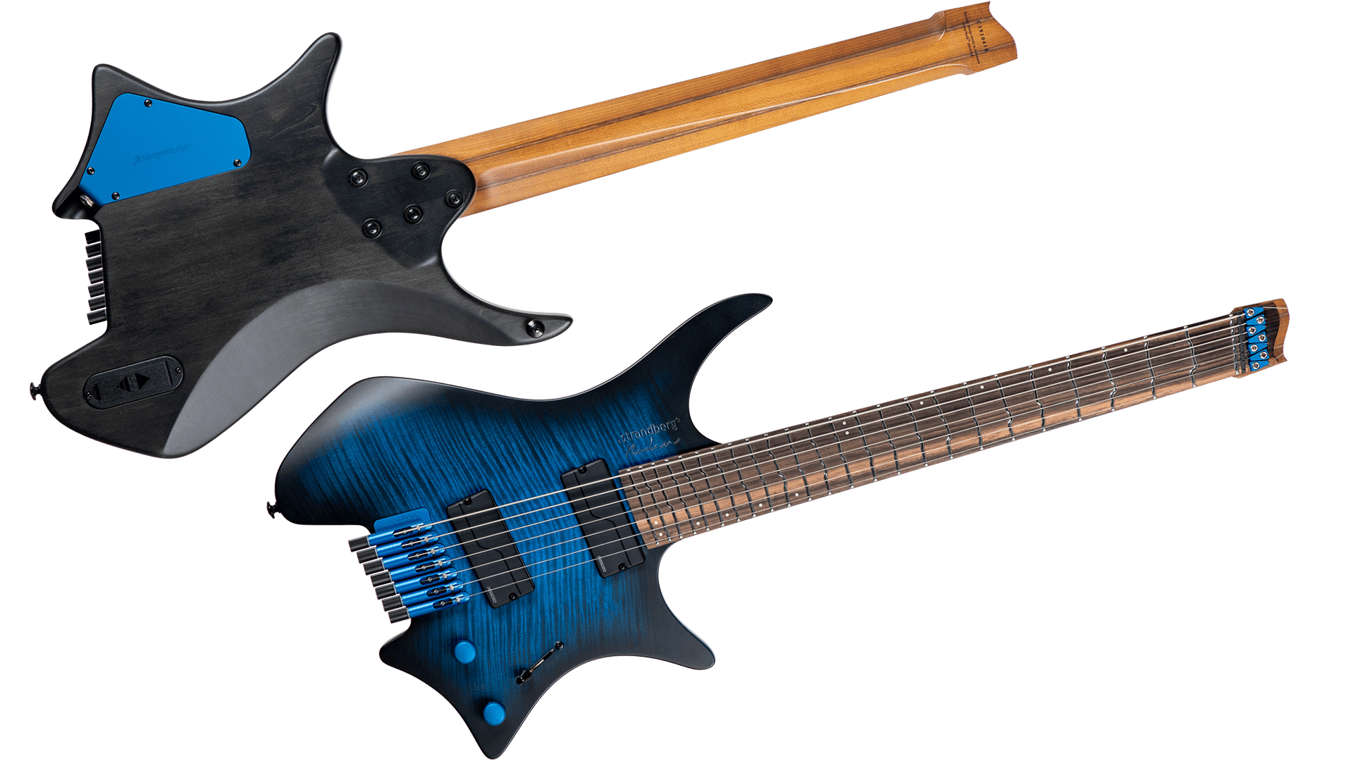 True temp blue burst 7 string headless guitar front and back view