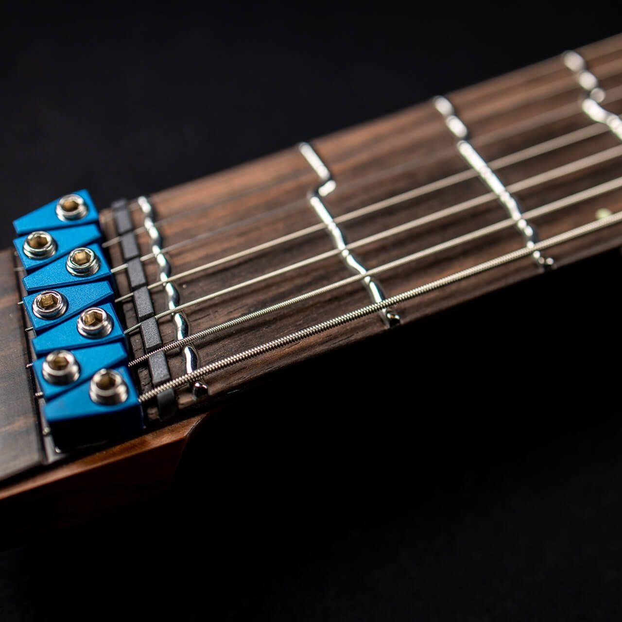 True Temperament blue burst headless guitar 7 string front view fretboard