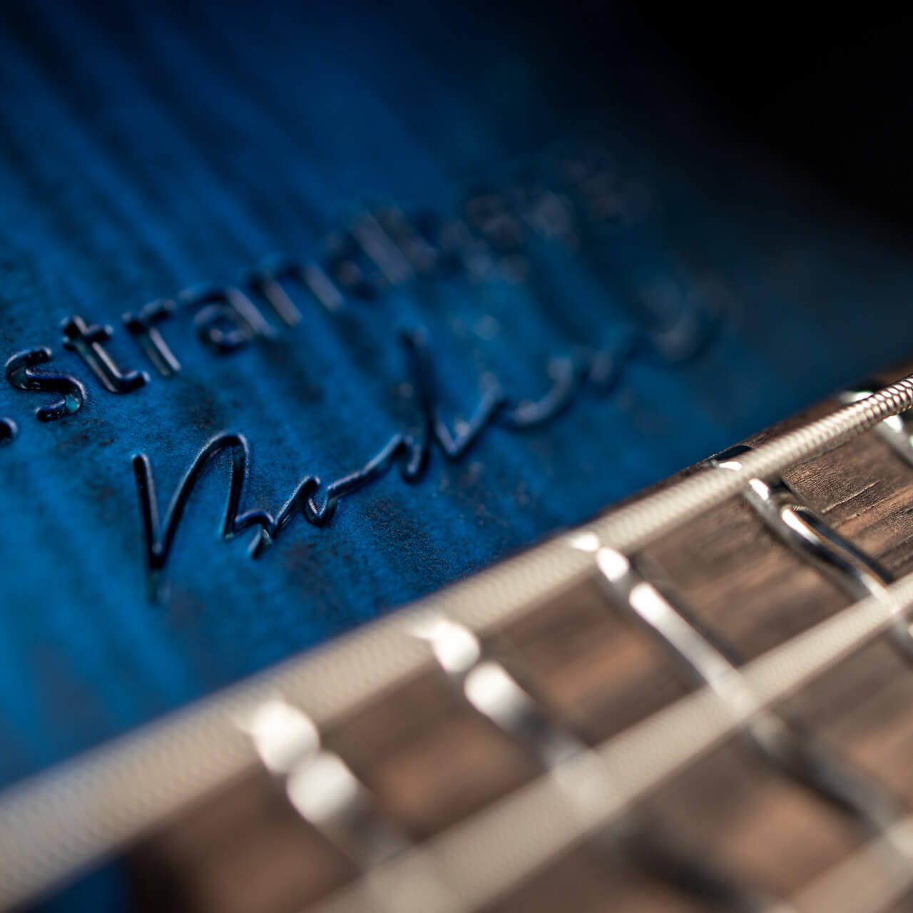 True Temperament Blue headless guitar closeup logotype strandberg boden